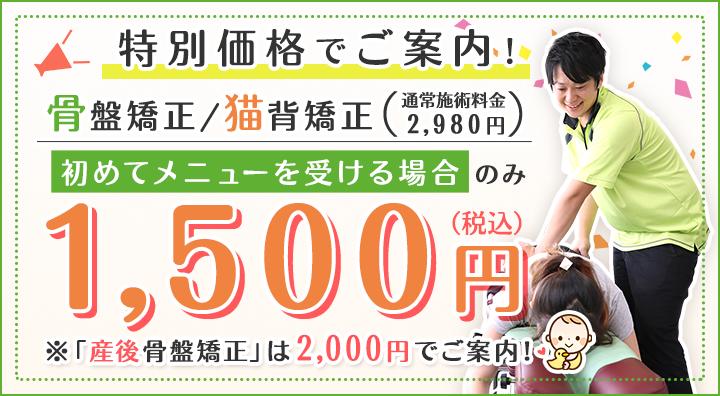 初めてメニューを受ける場合、お得な1500円